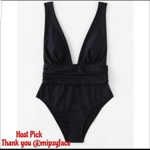 Other - HP NEW Plus Size Black Plunge Swimsuit